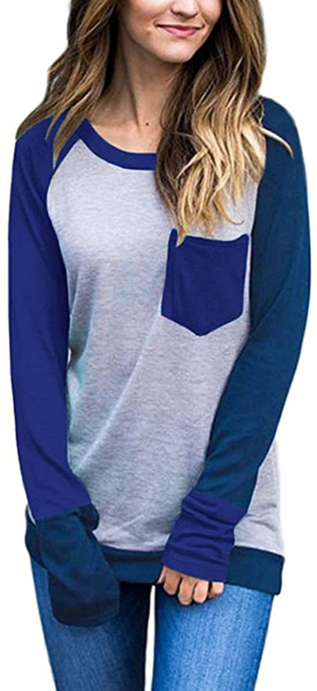 Women Long Sleeve T Shirts Crew Neck Girls Blouses Color Block Pullovers Pockets Sweatshirts Casual Loose Tops