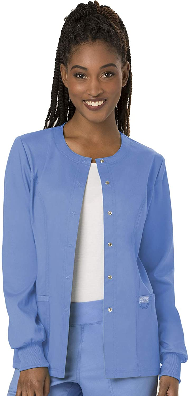 Cherokee Women's Snap Front Warm-up Jacket, Ciel, Small
