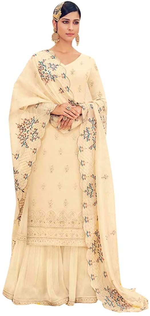 8821 Hit Indian Cream Pure Georgette Suit Sharara Gharara Heavy Embroidery Work Dupatta Party Wedding Cocktail Wear Ethnic Women Girls Pakistani Semi Stitched