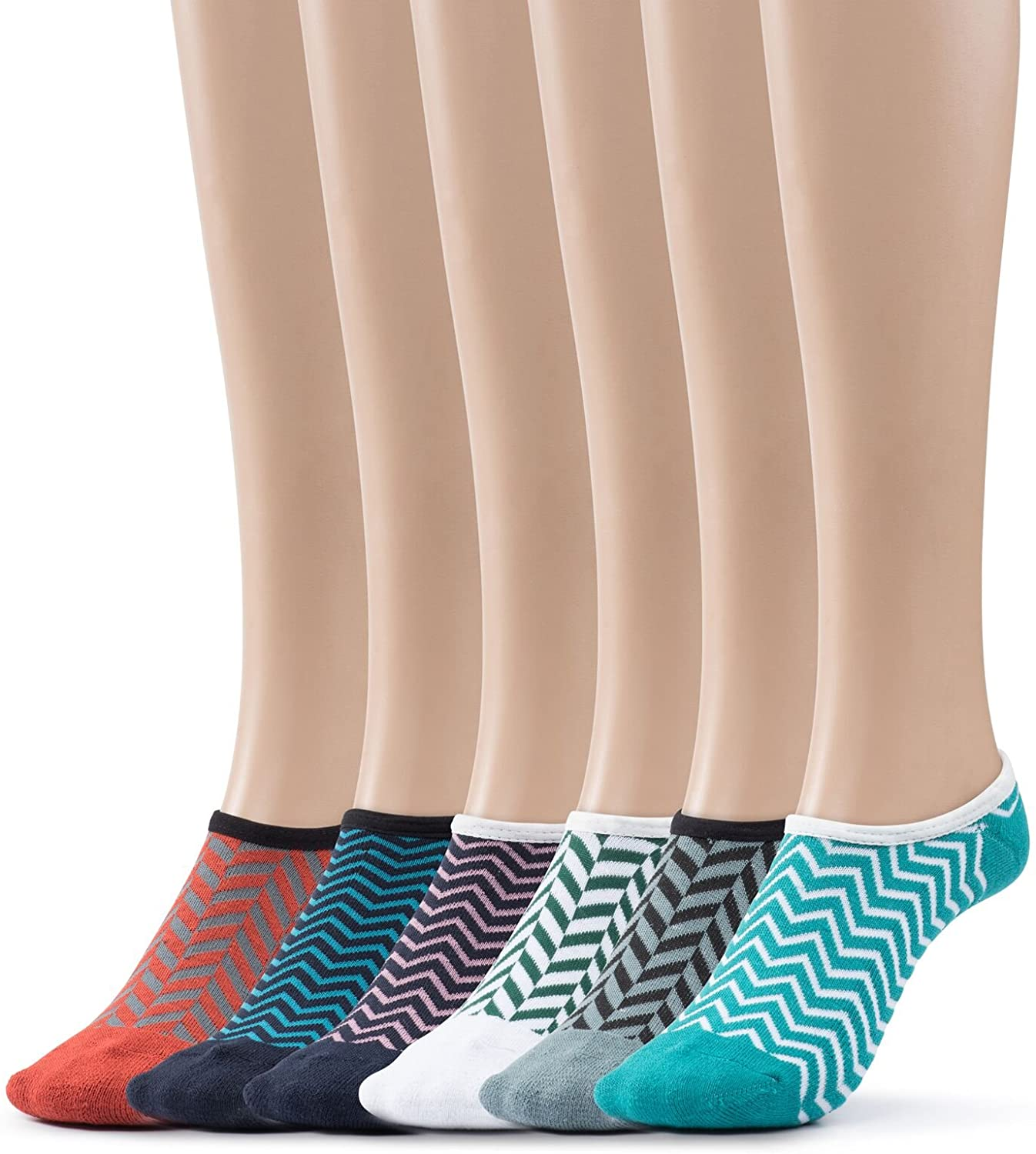 Women's Athletic No Show Socks Patterned Cushioned Foot Liners 6 Per Pack By Silky Toes
