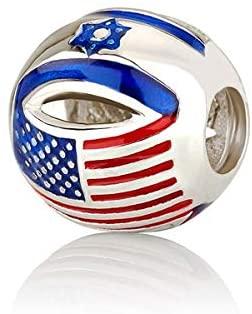 Faith Jewelry Israel USA Flag Charm: Israeli Star of David & American Stars Stripes Bead Sterling Silver 925 Rhodium Plated Red White Blue 0.5 Inch