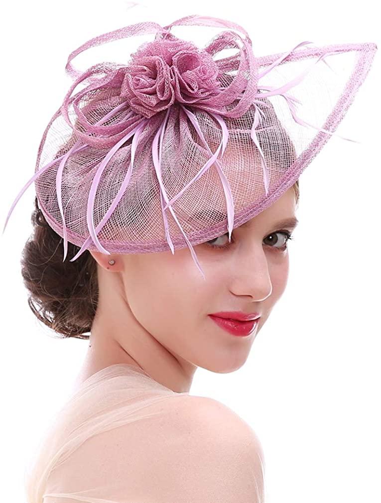 Ealafee Women's Sinamay Fascinator Hats Tea Party Wedding Headpiece Cocktail Hat
