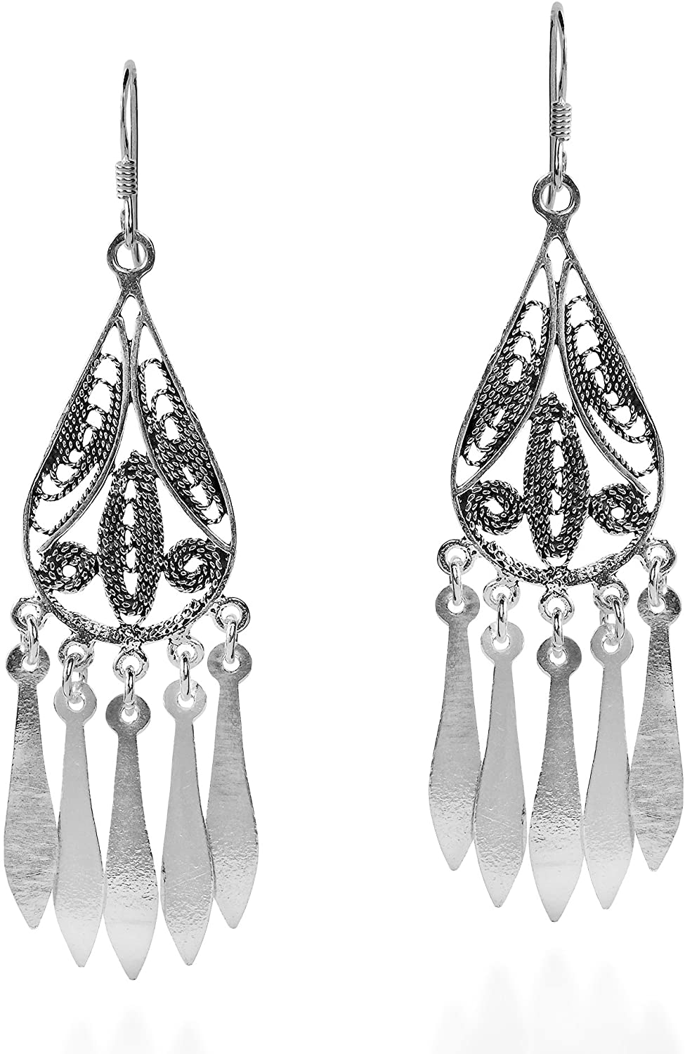 Exotic Teardrop Chandelier .925 Sterling Silver Dangle Earrings