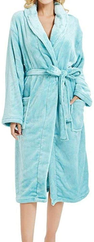 llwannr Bathrobe Robe Nightgown Sleep,Women Night Gown Robes Pajamas Women's Winter Lengthened Plush Shawl Bathrobe Sleepweer Long Sleeved Coat pyjamat,Sky Blue,L