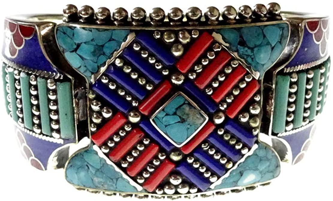 Beautifully Handcrafted Tibetan Cuff Bracelet By Artisans, Gemstone Turquoise, Coral & Lapis Lazuli Silver Plated Oxidized Multi Color Designer Boho Ethnic Antique Cuff Bracelet For Women Men