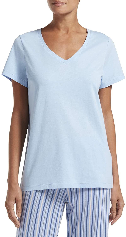 HUE Women's Short Sleeve V-Neck Sleep Tee, Chambray Blue, Extra Large