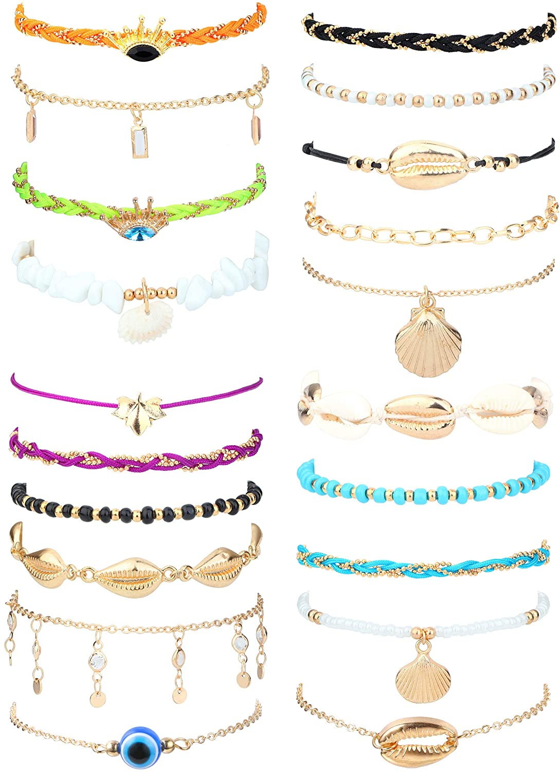 Florideco 20Pcs Layered Anklets for Women Woven Rope Shell Ankle Bracelets Set Bohemia Beach Chain Anklet Foot Jewelry Adjustable Size