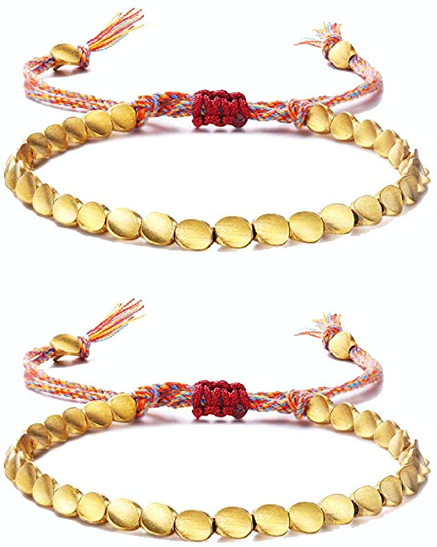 2PCS Handmade Tibetan Copper Bead Bracelet,Buddhist Braided Cotton Copper Beads Lucky Rope Bracelet Unisex for Women and Men