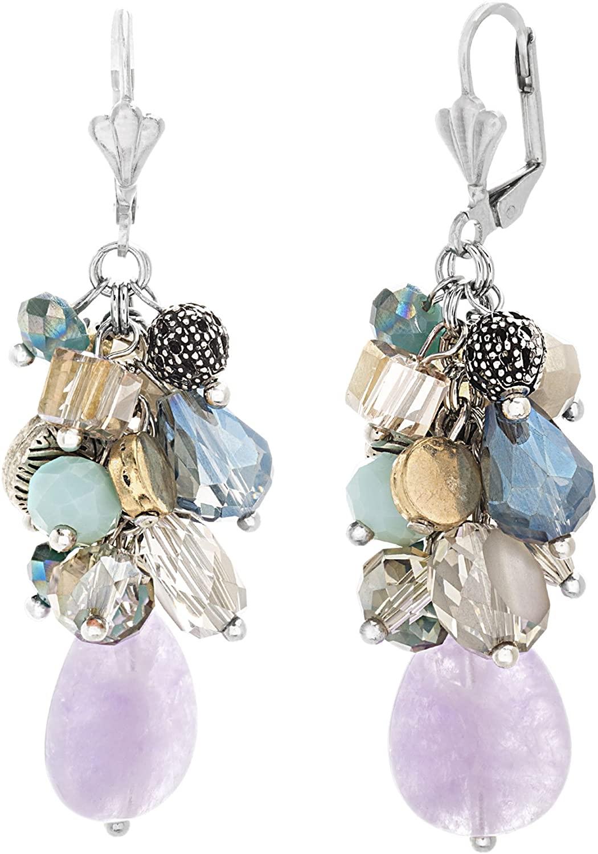 CATHERINE MALANDRINO Multi-Color Dangling Beaded Drop Cluster Silver-Tone Lever Back Earrings for Women