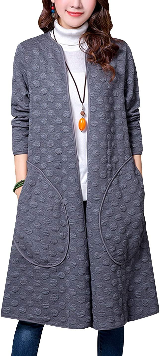 ZGZZ7 Womens Casual Vintage Mid-Long Coats Autumn Winter Cotton Padded Puffy Coats Cardigans Windbreaker