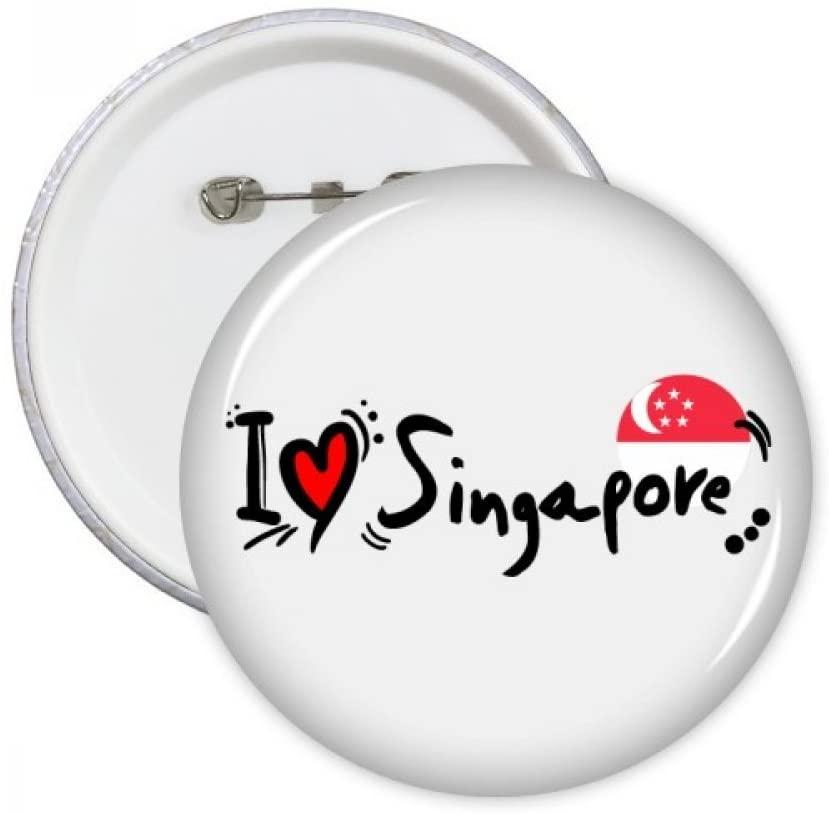 I Love Singapore Word Flag Love Heart Illustration Round Pins Badge Button Emblem Accessory Decoration 5pcs