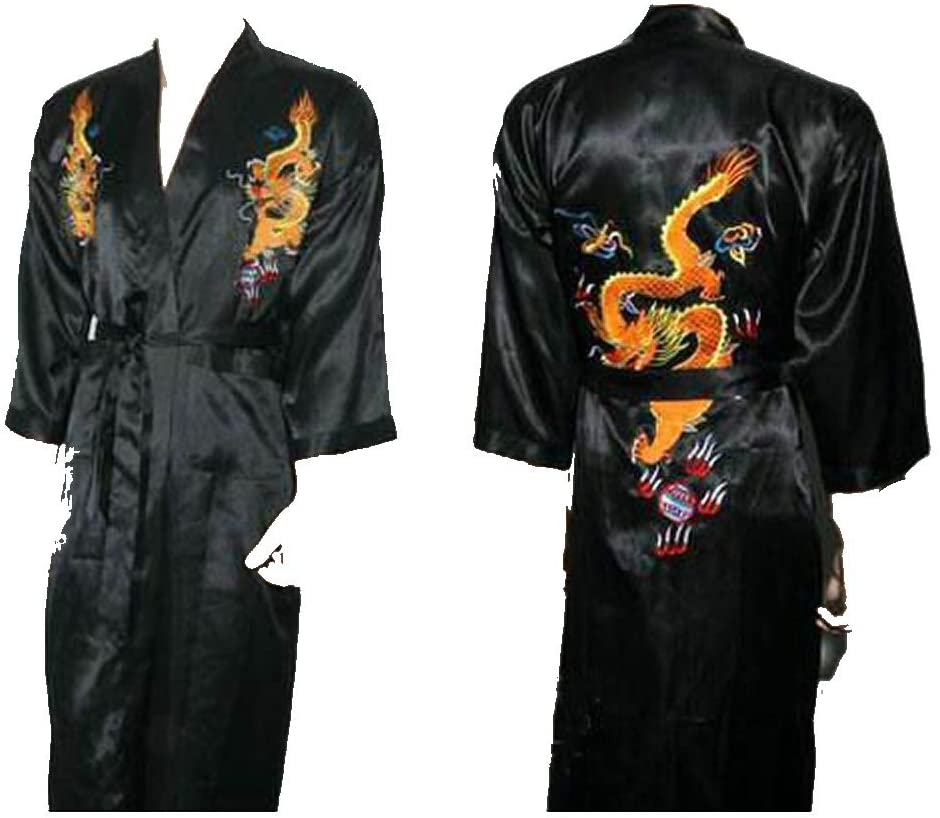 Shanghai Tone Dragon Kimono Robe Sleepwear Black One Size