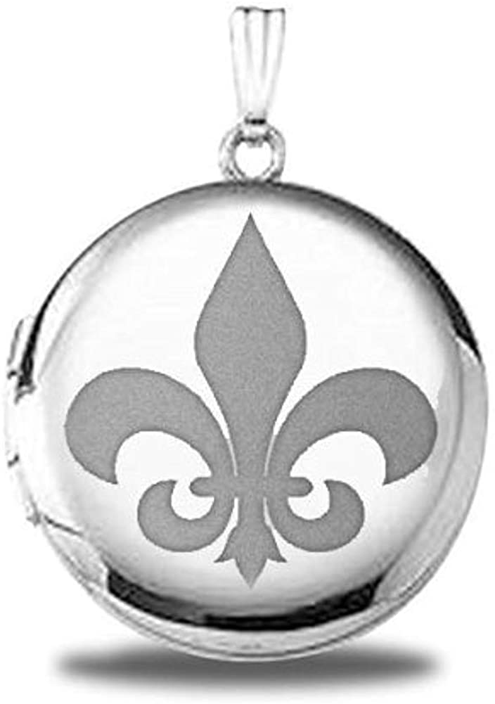 Sterling Silver Fleur De Lis Round Picture Locket - 3/4 Inch X 3/4 Inch and 1 Inch X 1 Inch