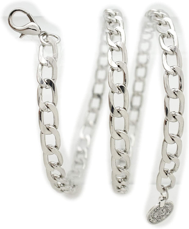 TFJ Women Belt Silver Metal Chain Thick Link Hip Waist Coin Charm Plus XL XXL