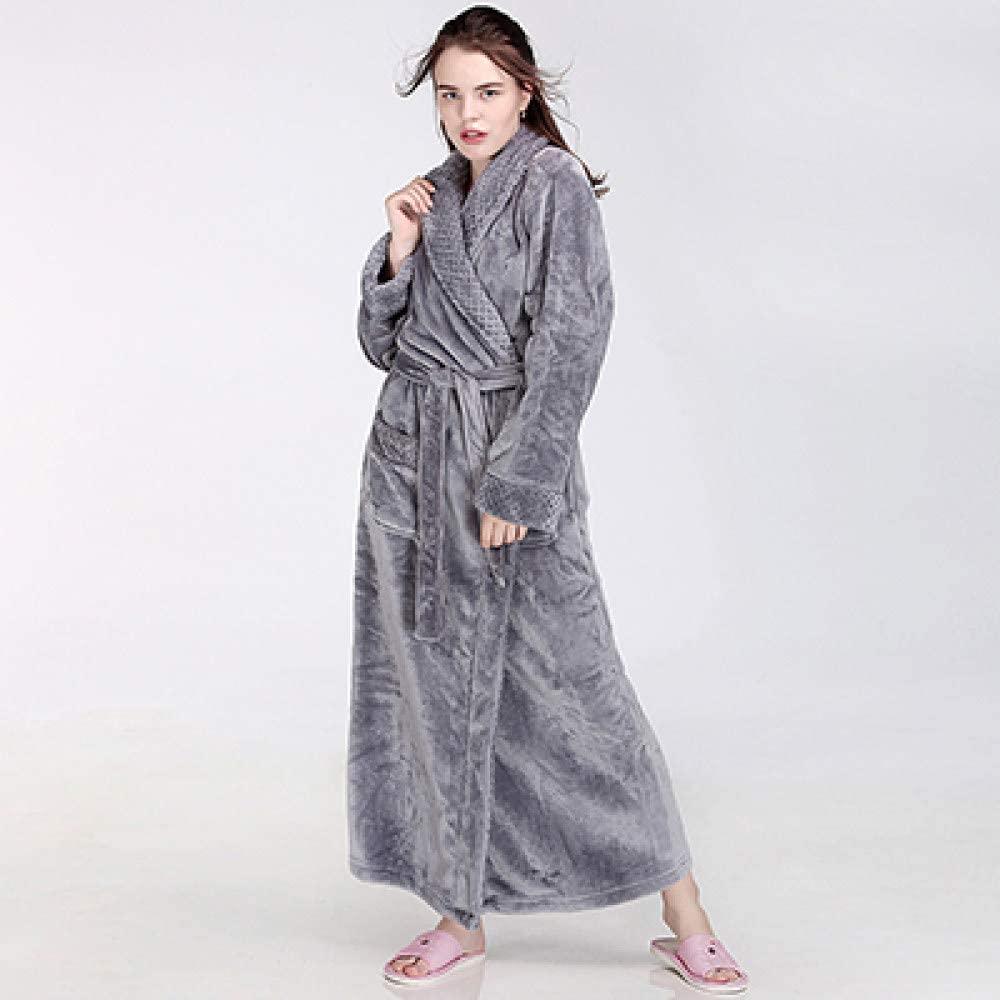llwannr Bathrobe Robe Nightgown Sleep,Women Men Winter Extra Long Warm Bathrobe Luxury Thick Flannel Grid Bath Robe Soft Thermal Dressing Gown Bridesmaid Robes,Grey Women,M