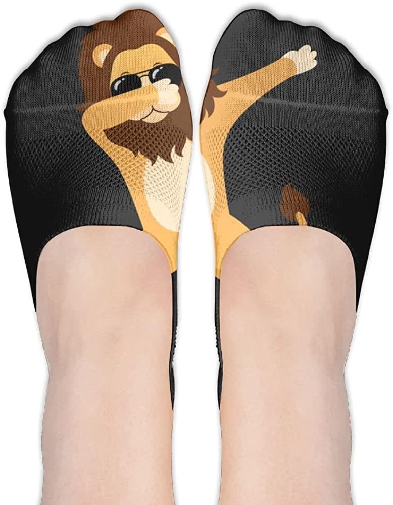 Womens Lion Dabbing Casual Liner Athletic Running Socks Non Slip Flat Boat Line Girl Thin Anti-Slip 3D Printed Socks