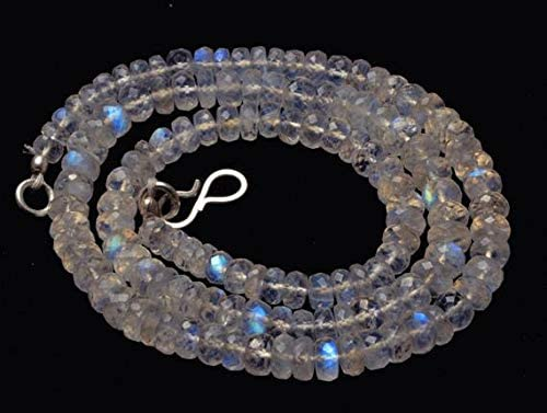 GemAbyss Beads Gemstone 1 Strand Natural 16 inch AAA+++ Blue Flash top Quality Rainbow Moonstone Faceted Rondelle Beads Necklace Briolettes 4 to 4.5 MM Code-MVG-29418