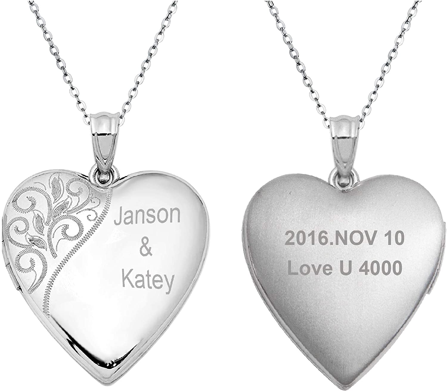 Sterling Silver 20mm Swirl Flower Love Heart Photo Locket Holds Picture Pendant Necklace, Custom Pesonalized Photo + Text