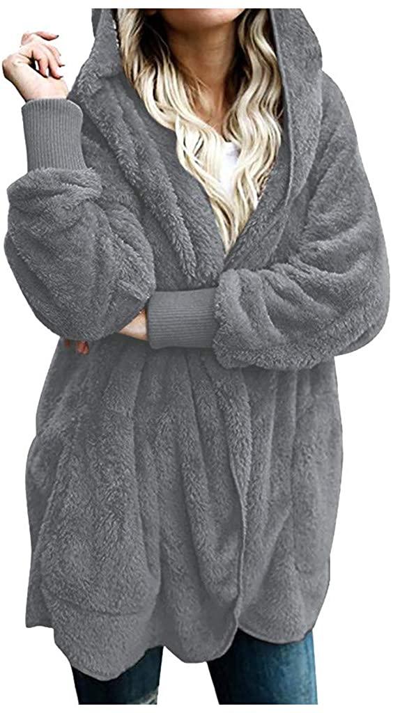 QIQIU Womens Fuzzy Fleece Open Front Hooded Warm Faux Fur Long Sleeve Solid Cardigans Jacket Coats Outwear with Pocket
