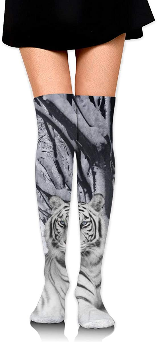 White Snow Tiger Fashion High Socks Stockings Over The Knee For Women