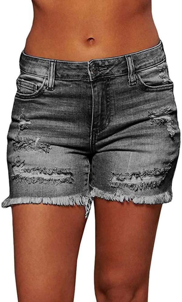 Koinshha Women's Sexy Stretchy Fabric Hot Pants Distressed Denim Shorts Slim Fit Shorts