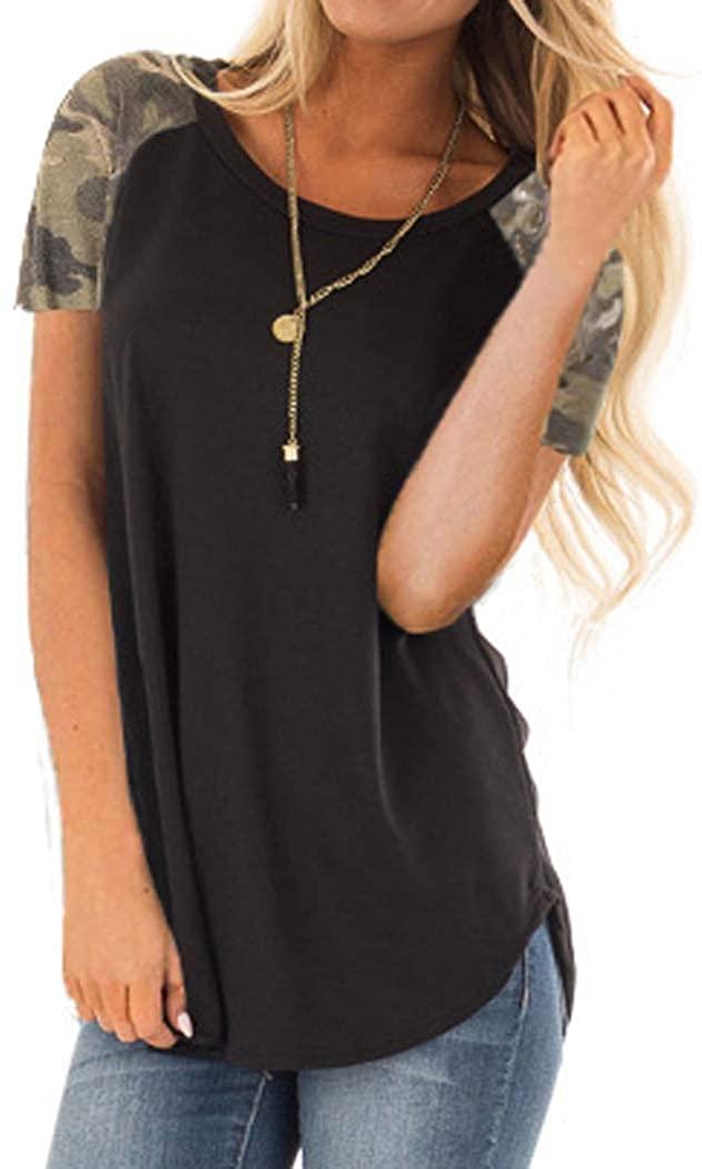 Halife Women's Color Block Short Sleeve Shirts Loose Fit Tunics Tops Tee