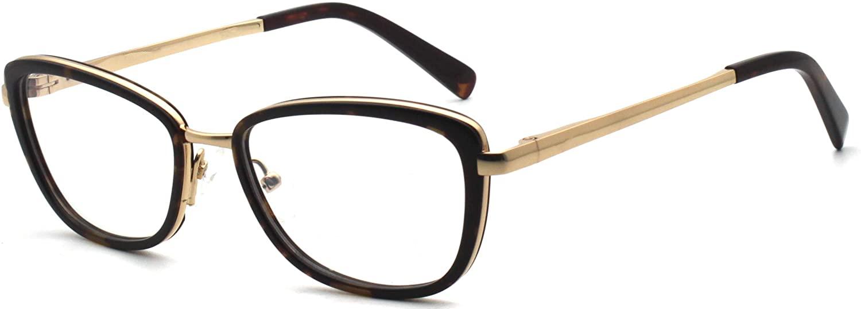 Women rectangular shape great vogue rich design acetate/metal combination fashion eyewear non-prescription