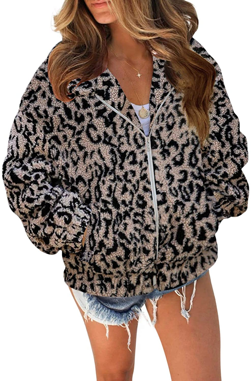 Dokotoo Womens Winter Full Zipper Pocketed Sherpa Short Teddy Jackets Coats