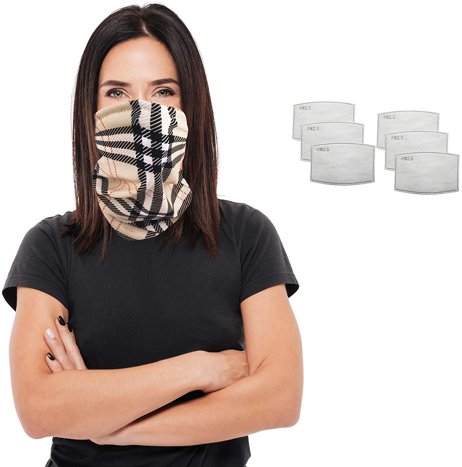 Bandana Scarf Face Mask with 2 Carbon Filters - Cloth Headband for Women