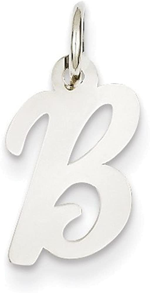 Jewelry Adviser Charms 14k White Gold Small Script Initial B Charm