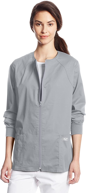 CHEROKEE Women's Workwear Core Stretch Warm Up Scrubs Jacket, Grey, XXX-Large