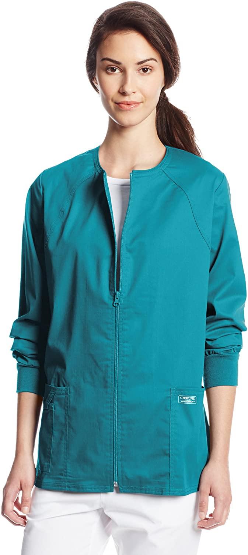 CHEROKEE Women's Workwear Core Stretch Warm Up Scrubs Jacket, Teal Blue, XXXX-Large