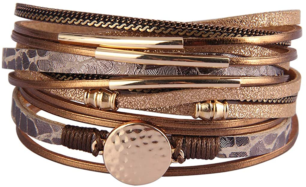 XiaoMtou Boho Multilayer Leather Bracelets Crystal Handmade Braided Wrap Cuff Bangle with Alloy Magnetic Clasp Men, Women Gifts