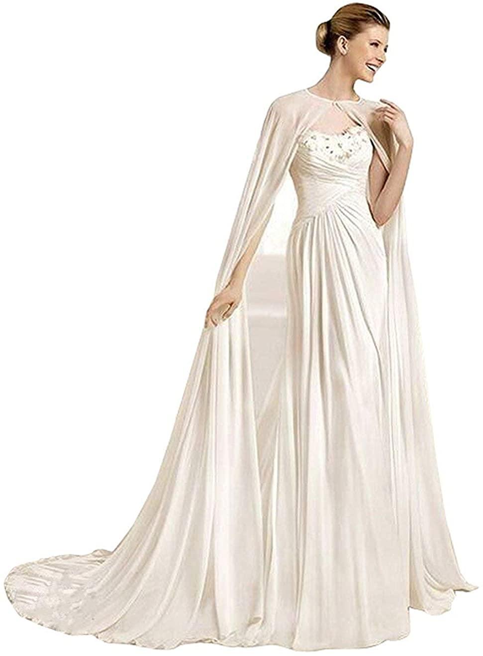 Women's 2 Meters Chiffon Wedding Long Cape Cathedral Length Bridal Cloak Bride Cape