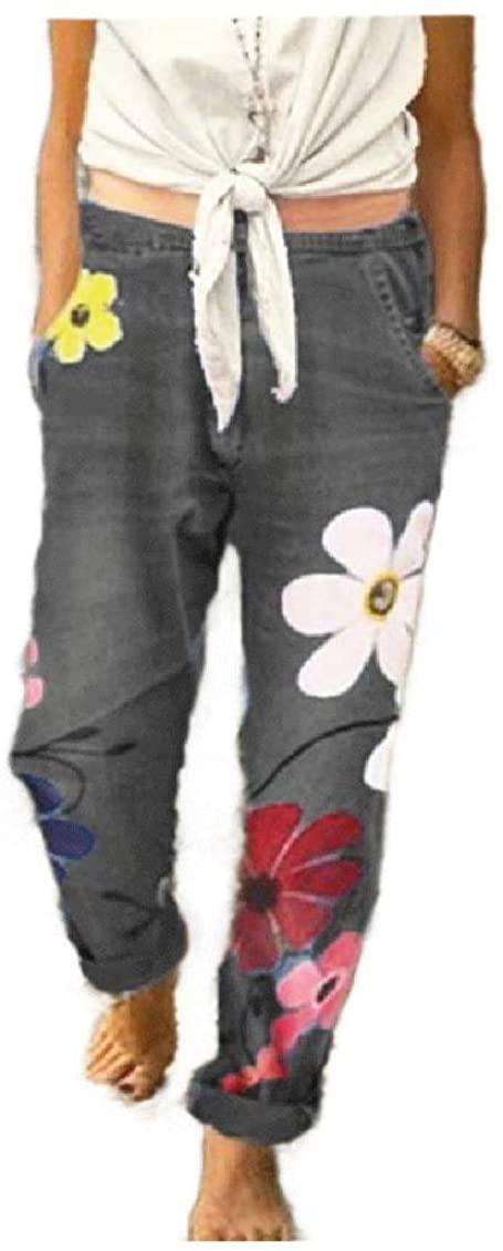 Winwinyou Women Leisure Plus-Size Curling Denim Floral Tribal Relaxed-Fit Jean