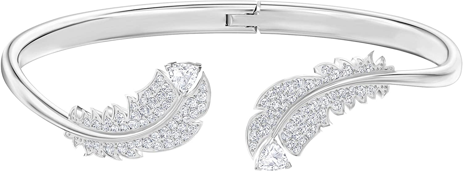 Swarovski Women's Nice Feather, Rhodium Plated, White Crystal Jewelry Collection
