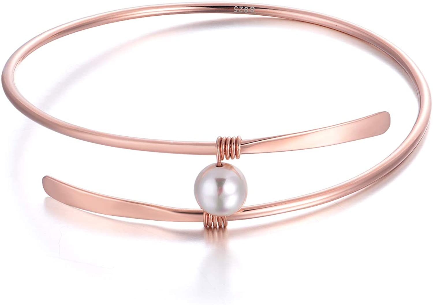 Sterling Silver 18K Rose Gold Single Freshwater Pearl Bangle Bracelets Wedding Bridesmaids Anniversary Gifts for Women Mom (18k rose gold bangle)