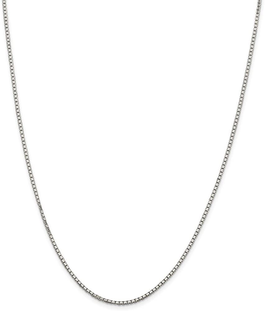 Solid 925 Sterling Silver 1.7mm Diamond-Cut Box Chain Necklace - with Secure Lobster Lock Clasp