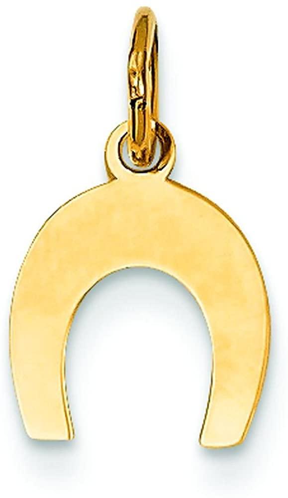 14K Yellow Gold Horseshoe Charm Good Luck Jewelry