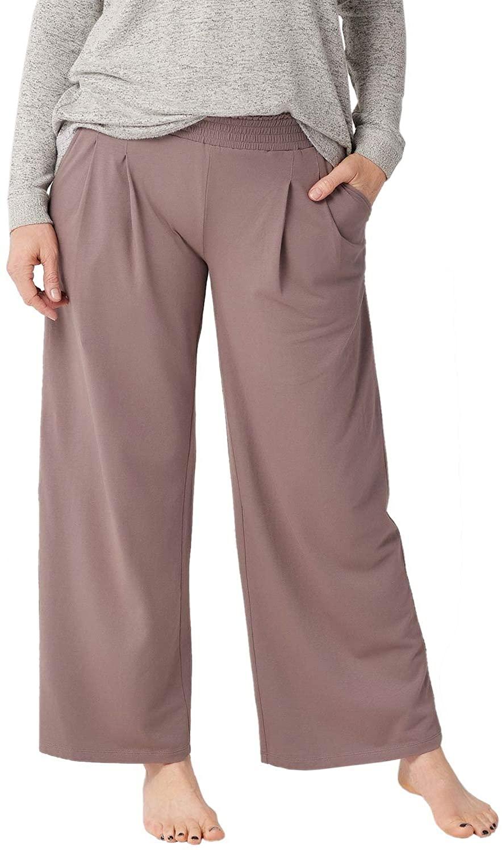AnyBody Womens Loungewear Cozy Knit Wide-Leg Pants X-Large Smokey Taupe A347172