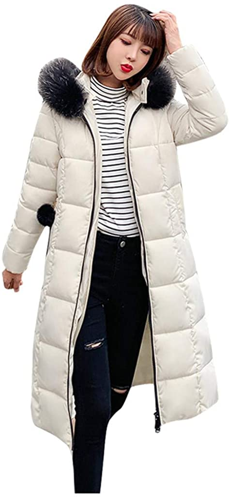 Heberry Women Coat Jacket Winterwear Fashion,Women Winter Warm Hooded Thick Zipper Pocket Slim Jacket Overcoat Outcoat Coat White