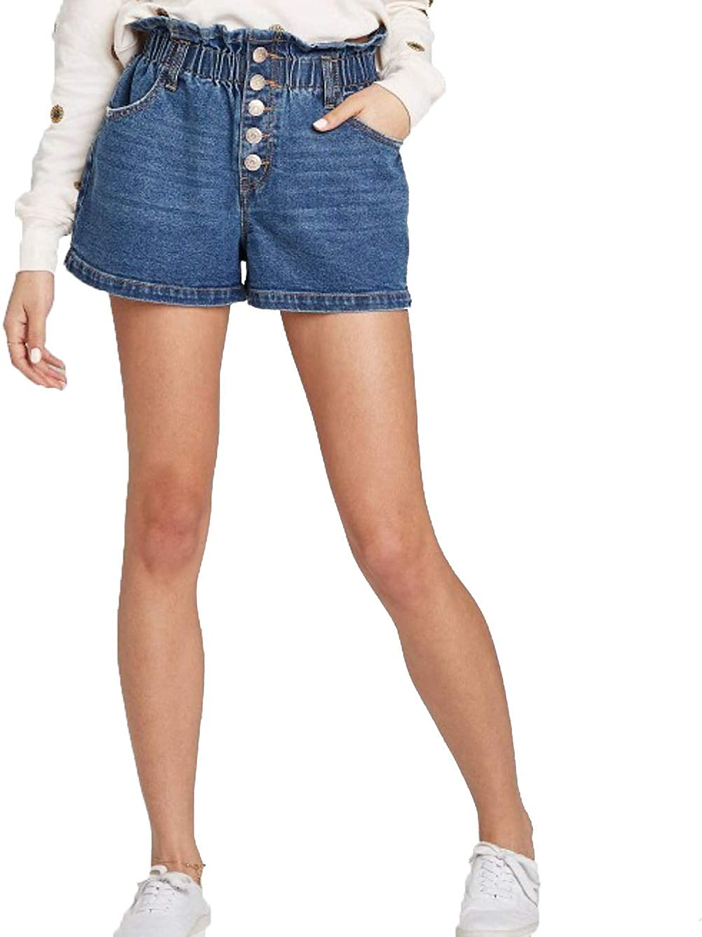Wild Fable Women's High-Rise Button-Front Paperbag Waist Jean Shorts -