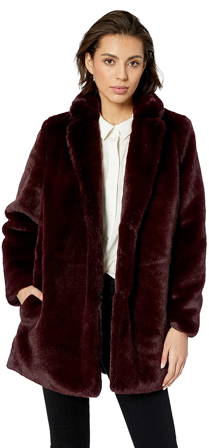 ASTR the label Womens Soft Collared Faux Fur Long Coat