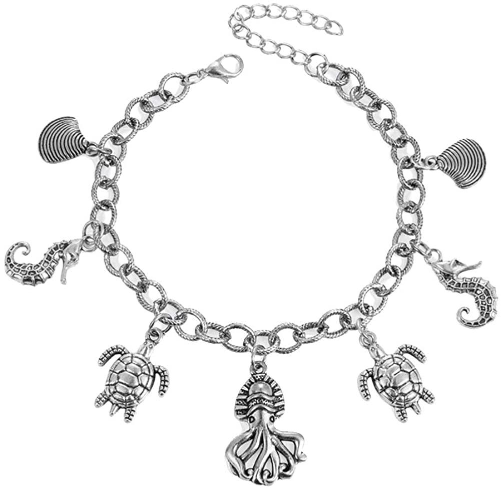 carduran Unique Desgin Charming Style Fashionable Women Turtle Seahorse Octopus Shell Charm Chain Anklet Ankle Bracelet Jewelry
