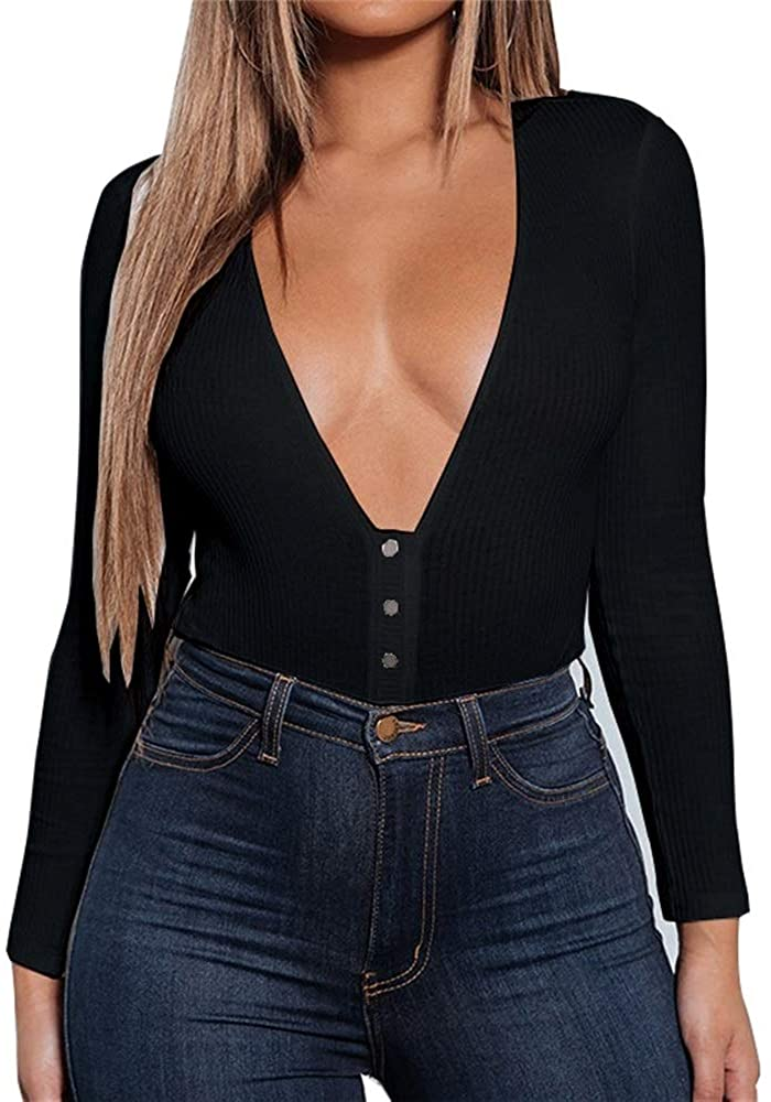 GEMBERA Womens Sexy Deep V Button Down Long Sleeve Bodycon Ribbed Bodysuit Tops Leotard
