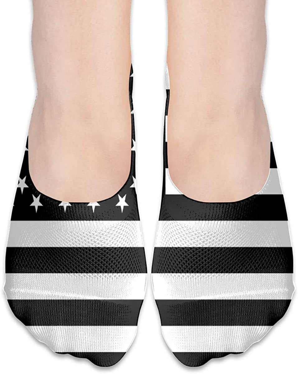 No Show Socks For Women The Black American Flag Low Cut Sock Liners Invisible Socks