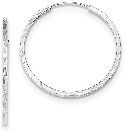 14k White Gold Diamond-cut Square Tube Endless Hoop Earrings
