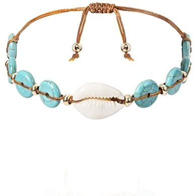 Regeek Strand Bracelets - Designer Sea Shell Bracelets & Bangles Boho Fashion Simple Beach Seashell Foot Chain Anklet Bracelets for Women Jewelry Gifts - (Metal Color: 2, Length: 18cm)