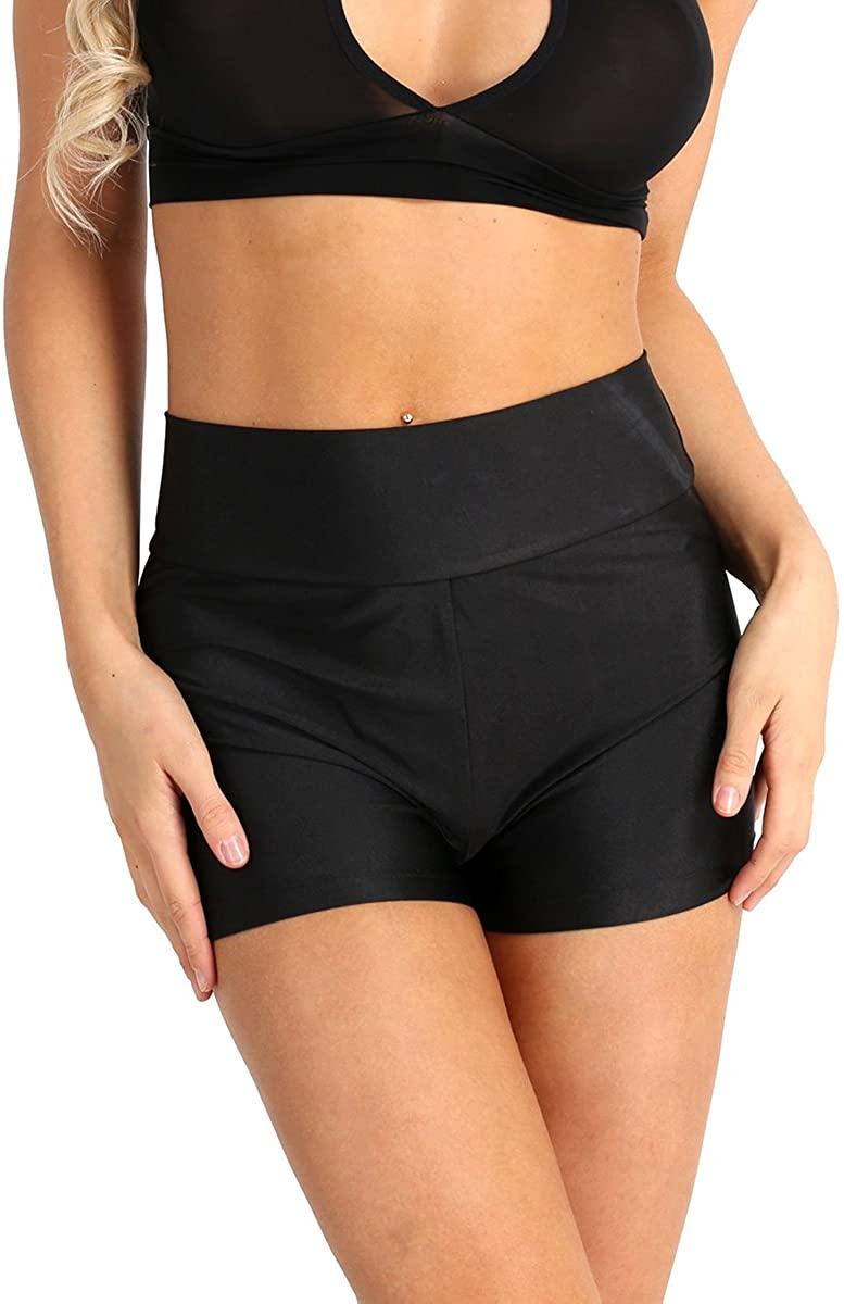 ACSUSS Women's Spandex Plain Stretchy Fitness Yoga Club Wear Dance Summer Mini Shorts Hot Pants