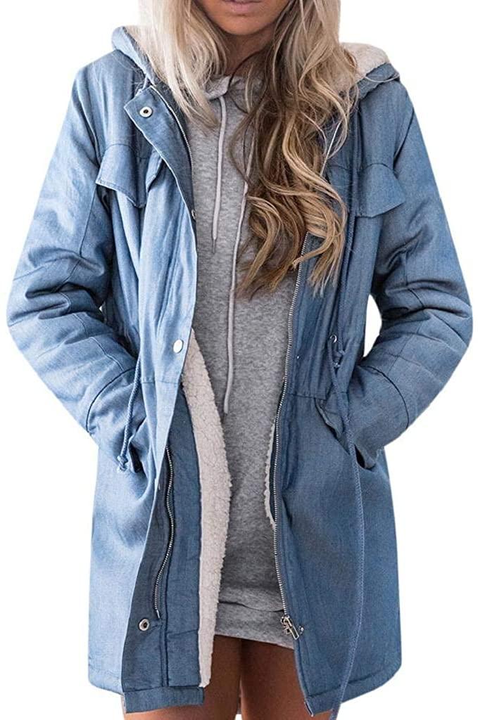 terbklf Coat for Women Denim Jacket Casual Long Sleeve Hooded Long Coat Outwear with Artificial Fleece Lined Overcoat